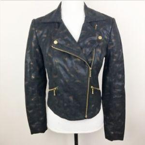 Rock & Republic Foil Snakeskin Baroque Moto Jacket